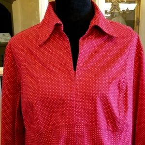 RED WITH SMALL WHITE POLKA DOT BLOUSE